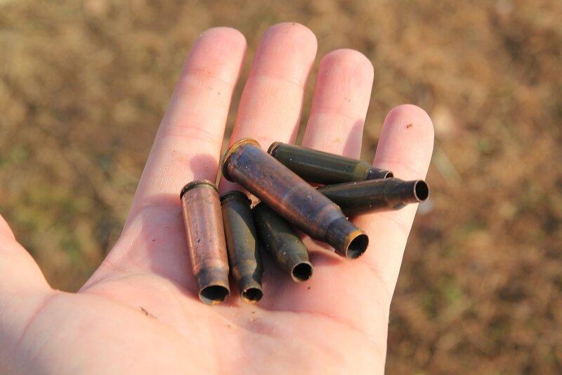 Стреляные гильзы 7.62 и 5.45