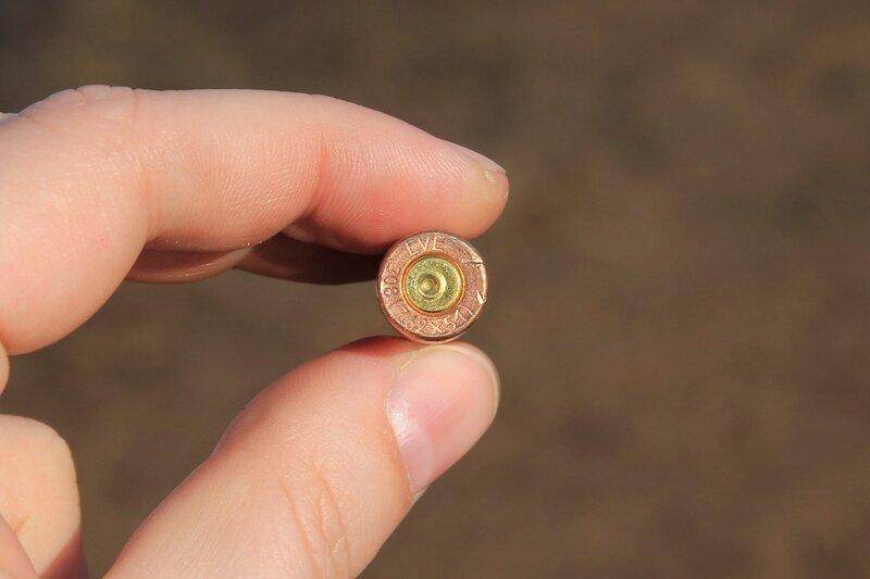 Стреляная иностранная медная гильза с надписью LVE 308 (7.62x51)