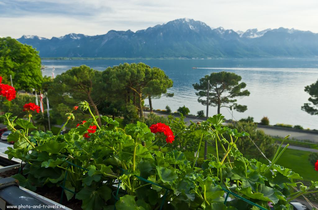Фотография 3. Поездка в Швейцарию. Вид на Женевское озеро с террасы нашего отеля в Монтрё.