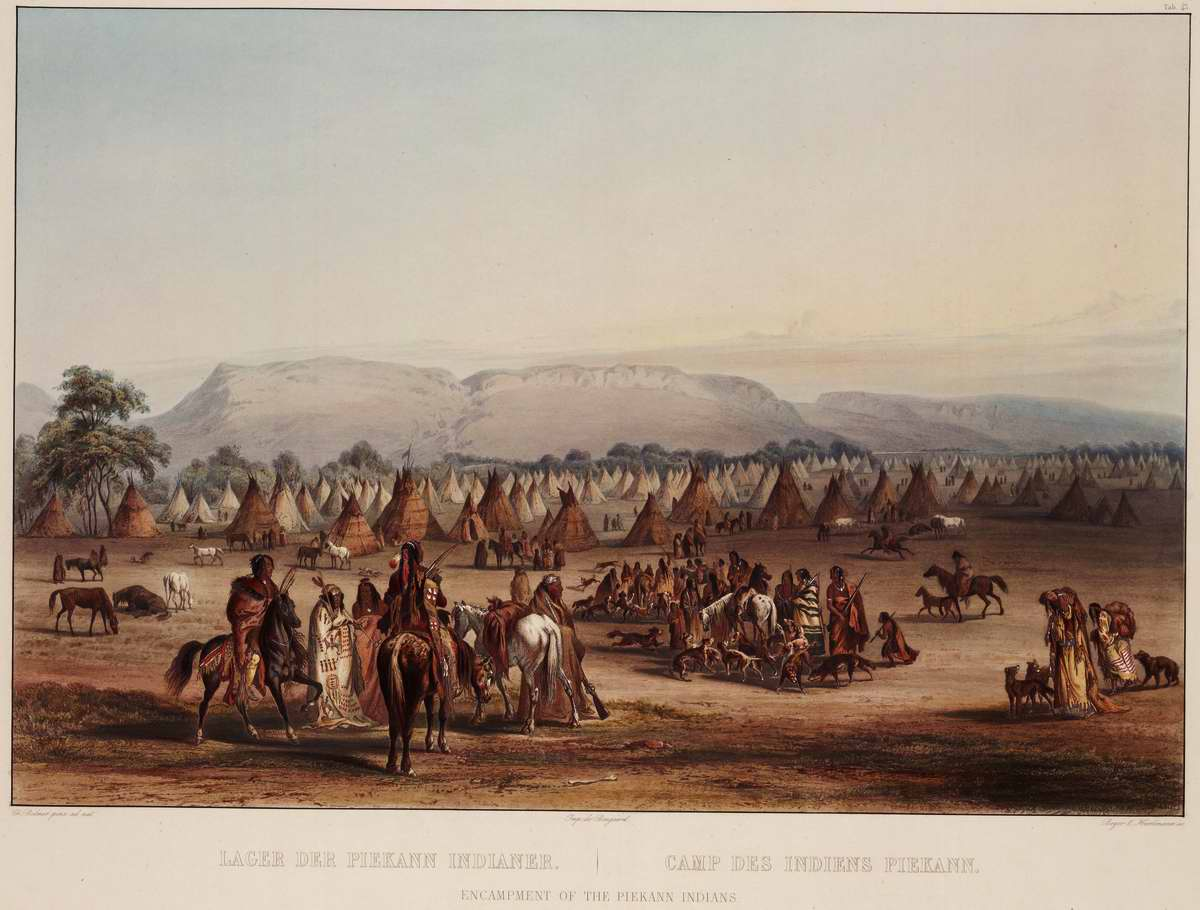 Лагерь индейцев из племени Piekann - Karl Bodmer