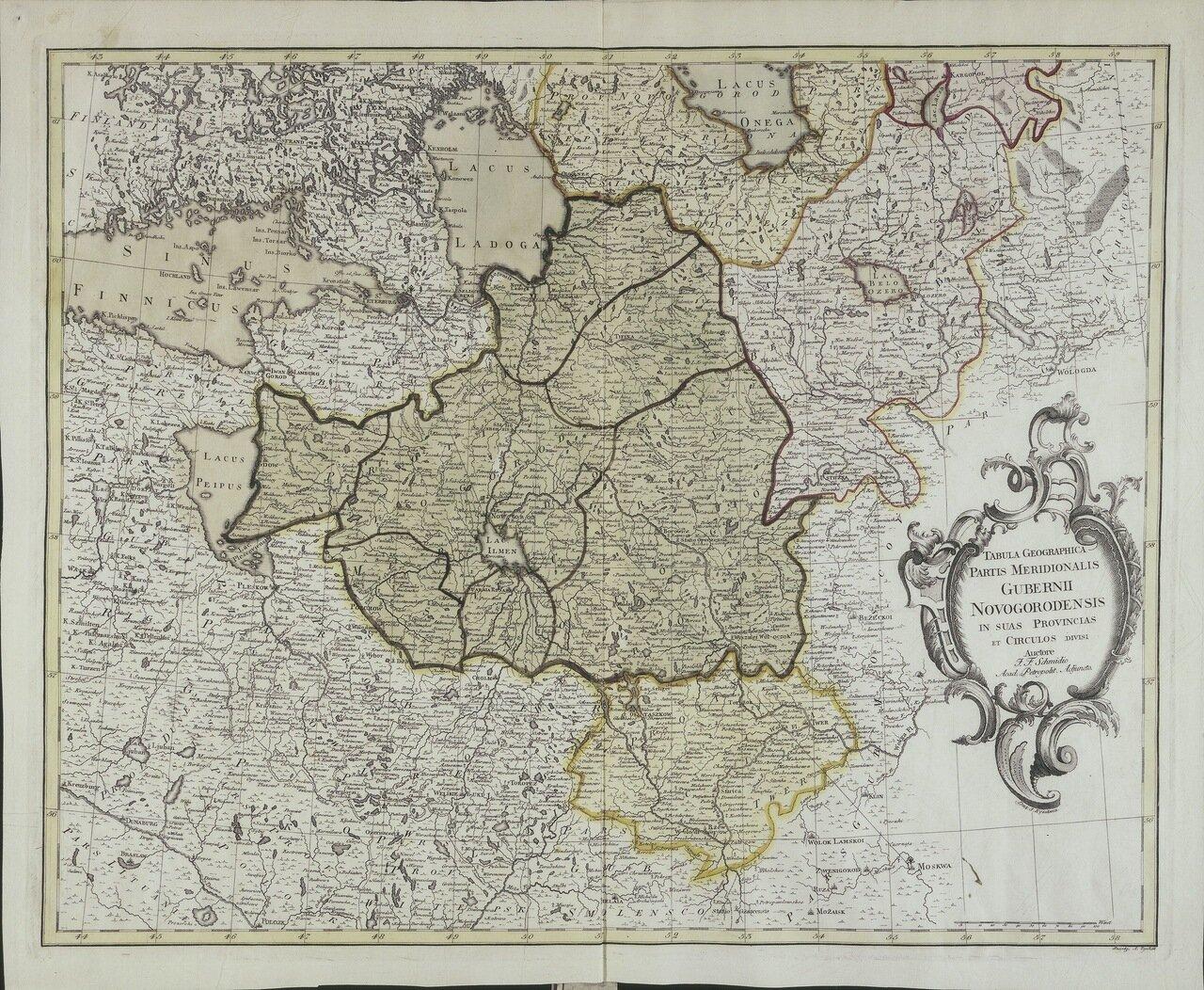 1750. Карта южной части Новгнородской губернии