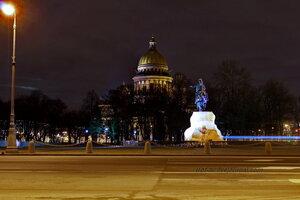 Медный всадник, 7.08.1782г. и Исаакиевский собор, 1818-1858 гг., ночной Санкт-Петербург