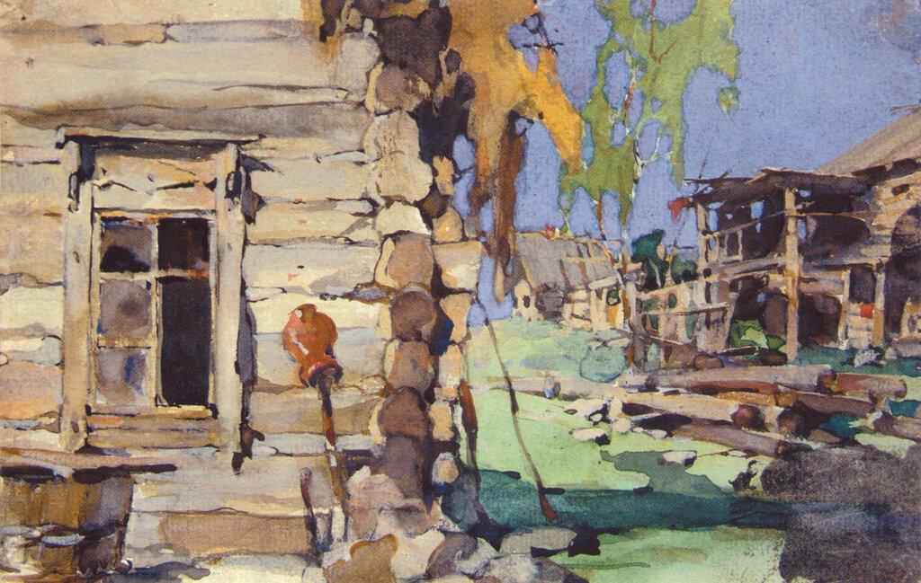 Уличный деревенский вид (задник). Иллюстрация к книге 3.М.Славяновой (1921).jpg