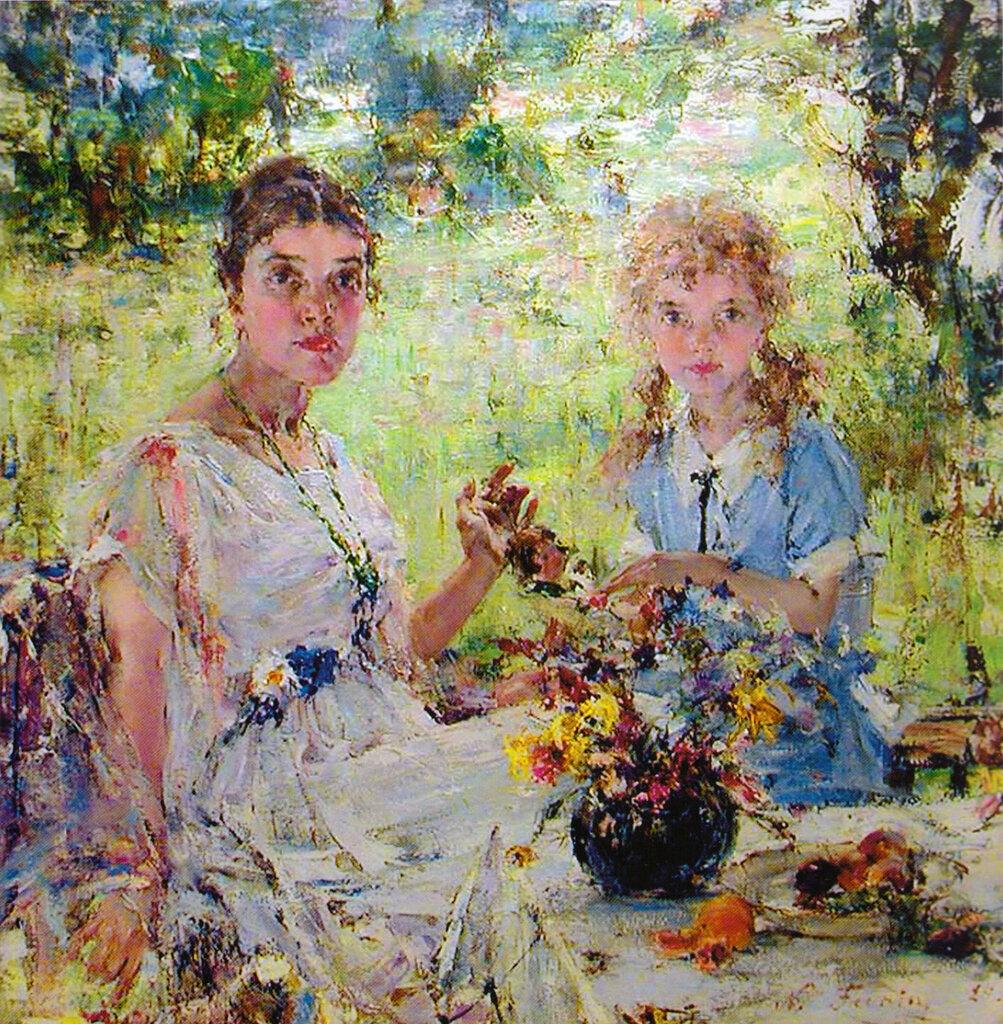 Лето (Портрет А.Н.Фешиной с дочерью Ией) (1924).jpg