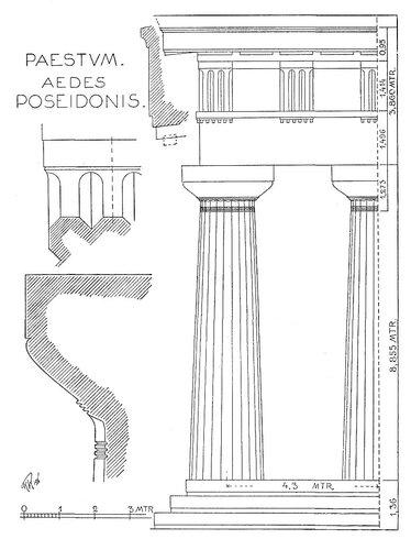 Храм Геры II в Пестуме (храм Посейдона), ордер