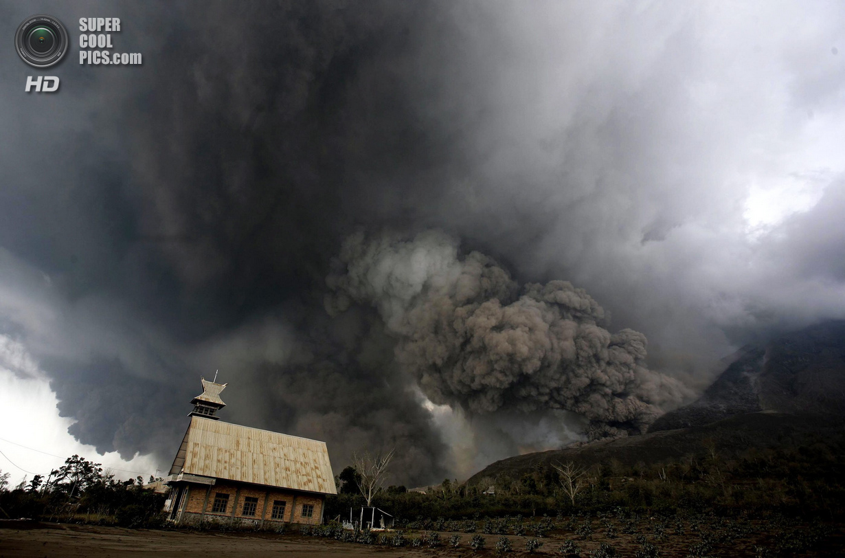 Sinabung Volcano Eruption in Karo