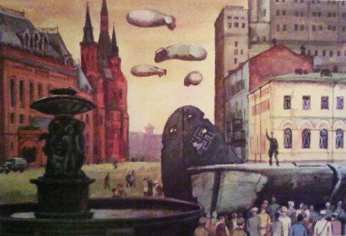 Площадь Свердлова.Сбитые самолеты противника.1942 г.
