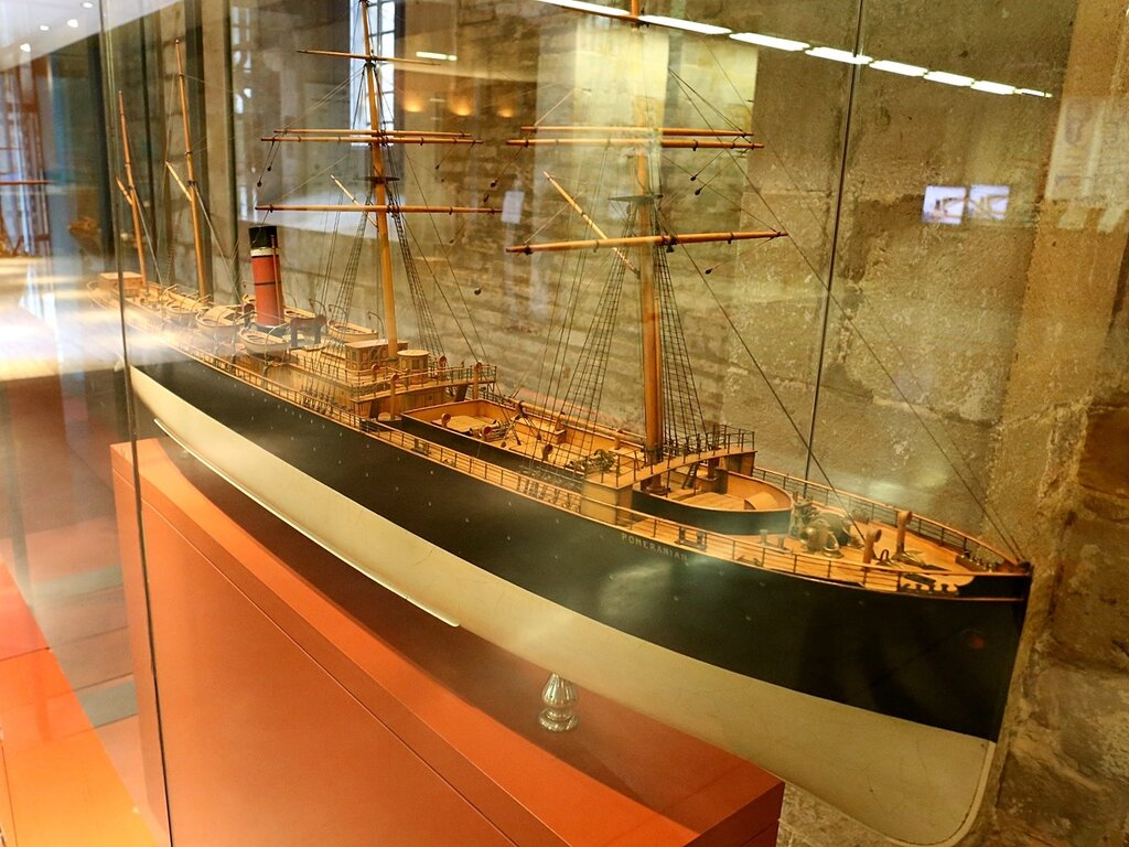 Maritime Museum of Barcelona. Ocean steamer of the turn of the early 20th century