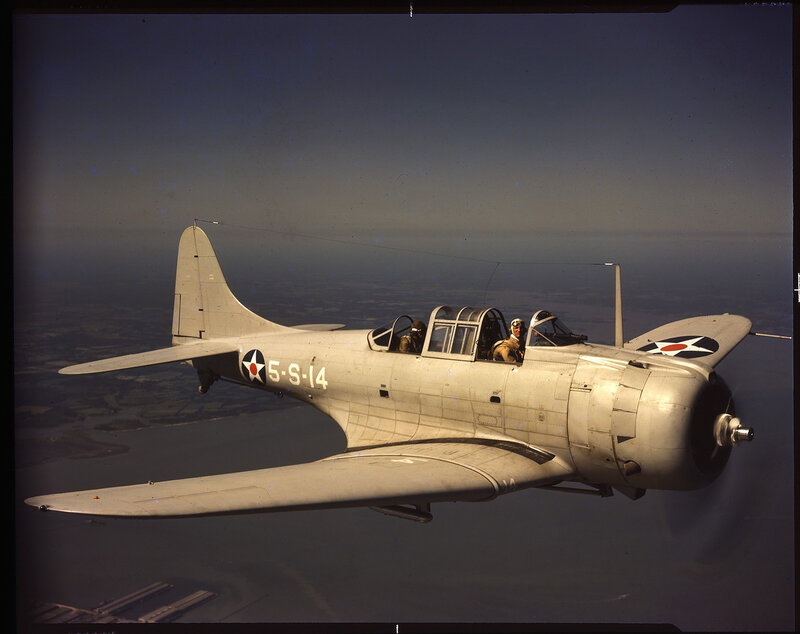 Right side aerial view of U. S. Navy Douglas SBD-3 Dauntless ({5-S-14}), member of Scouting Squadron 5 from the aircraft carrier U.S.S. Yorktown, ca. 1941.
