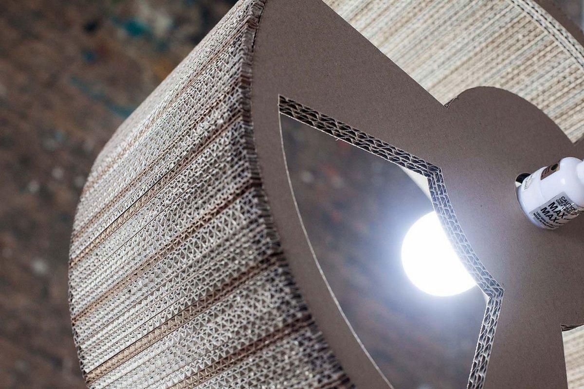 Мари-Жозе Гюстав, Marie-Jose Gustave, предметы из картона, предметы интерьера ручной работы, предметный дизайн в фотографиях, лампа из картона