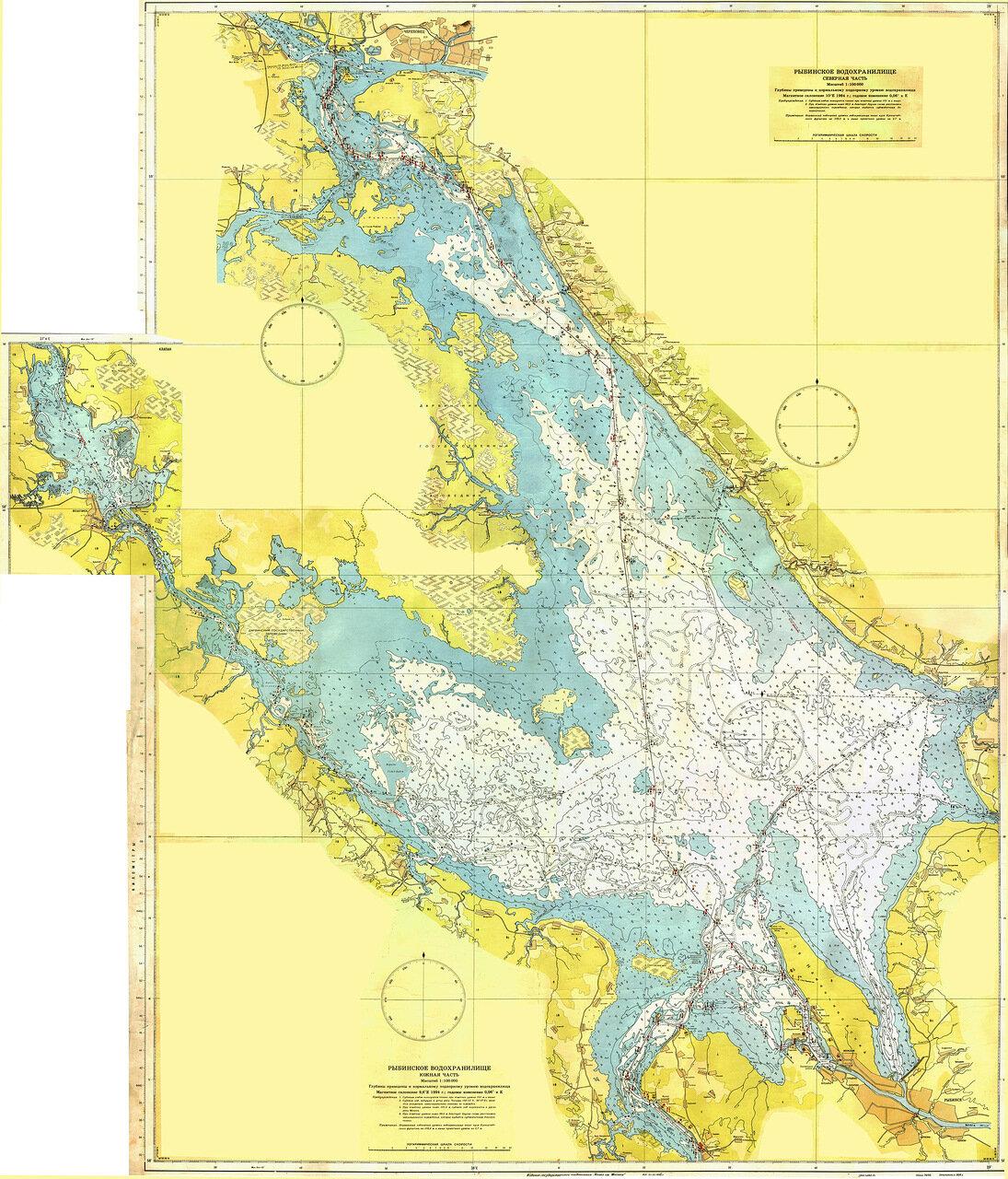 карта глубин рыбинского водохранилища