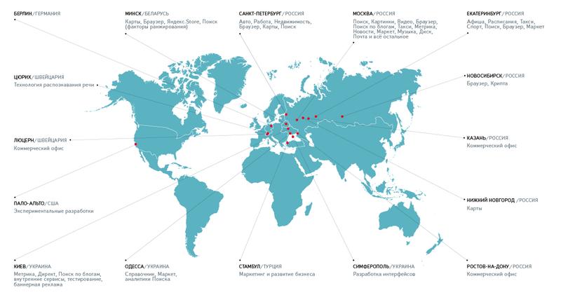 Офисы Яндекса на карте мира