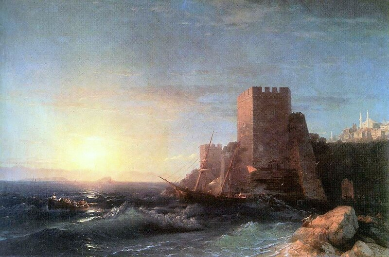 Айвазовский. Башни на скале у Босфора