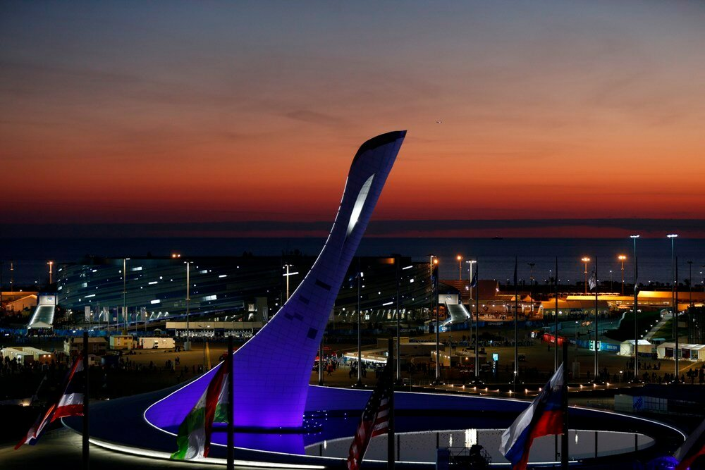Feb 7, 2014; Sochi, RUSSIA; A scenic image of cauldron before lighting at the Sochi 2014 Olympic Winter Games at Fisht Olympic Stadium. Mandatory Credit: Jeff Swinger-USA TODAY Sports