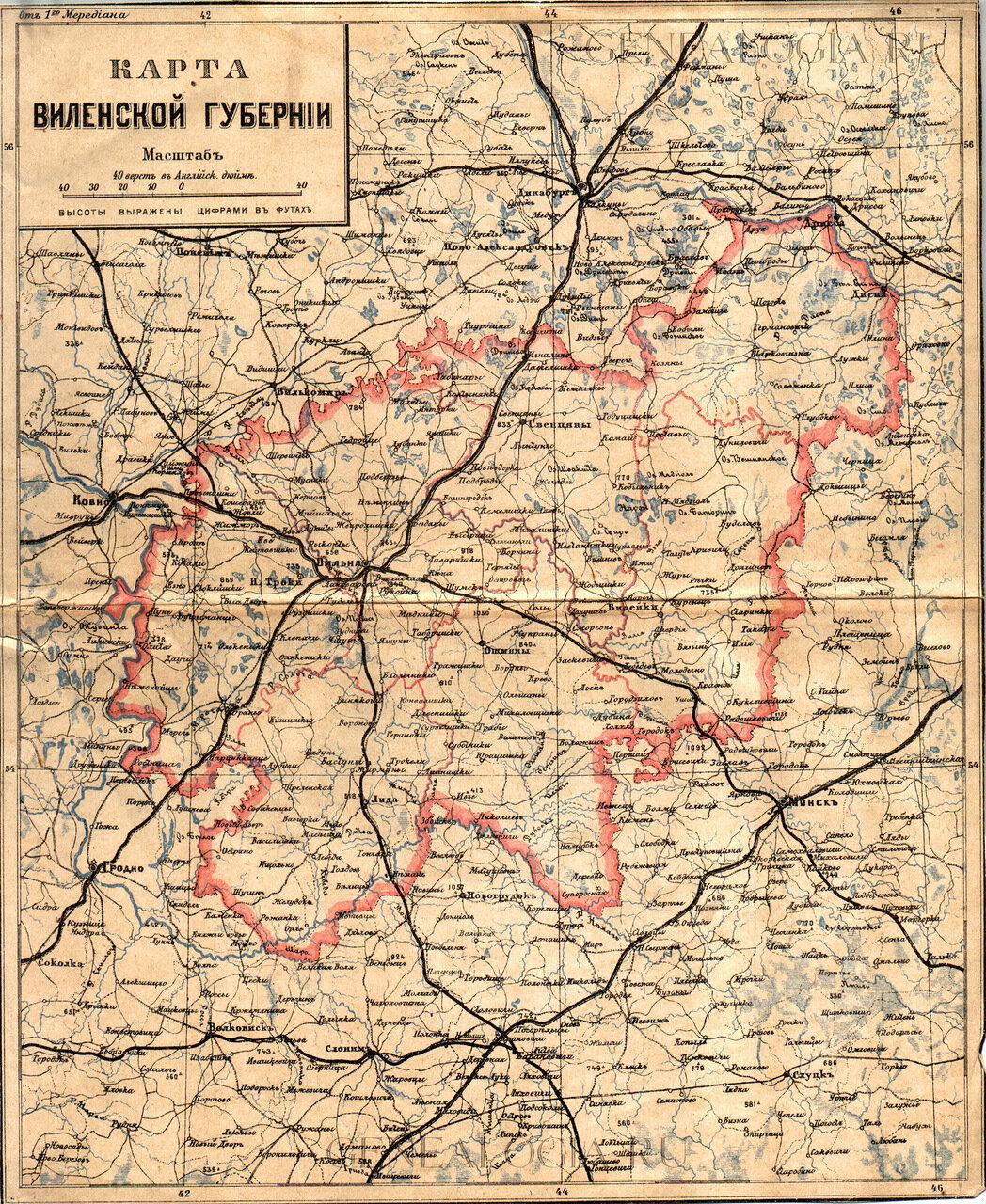 Карта Виленской губернии