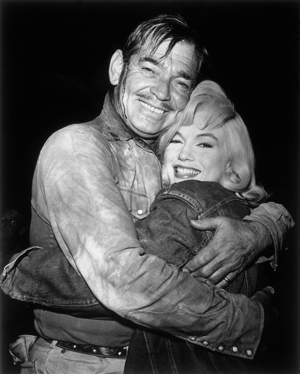 Actor Clark Gable Embracing Actress Marilyn Monroe