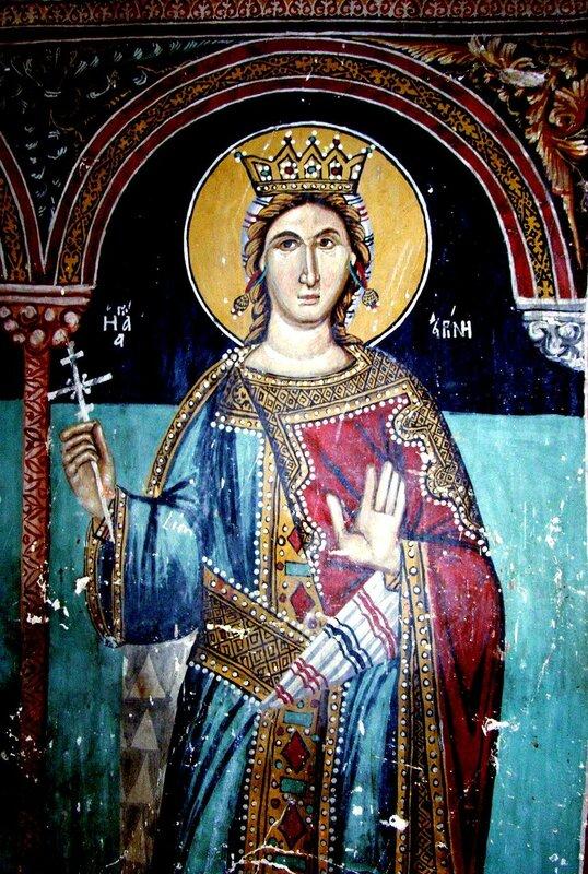 Святая Великомученица Ирина. Фреска церкви Архангела Михаила, Галата, Кипр. XVI век.
