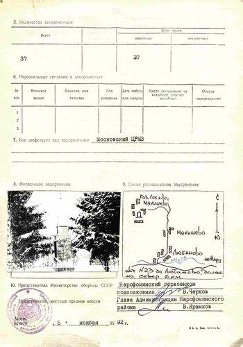 Карточка захоронения в Мякишево, Одинцовский р-н