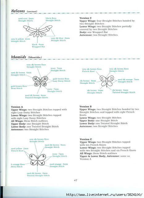 Вышивка лентами: птицы и бабочки