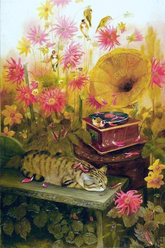 Утомленное солнце для кота Васьки под патефон! Художник Екатерина Филимонова