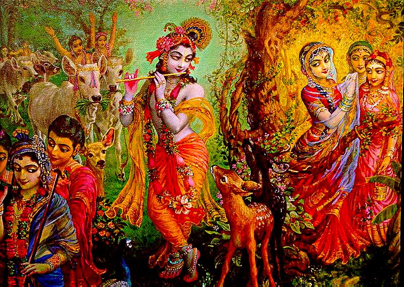 Индийская живопись. Кришна и пастушки