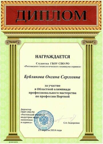 Диплом Бубликовой Оксане