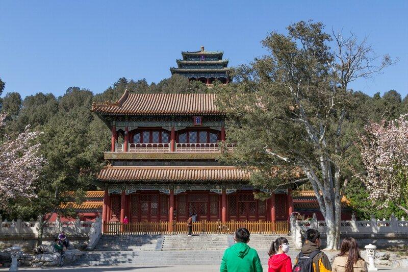 Павильон Циванлоу и беседка Ваньчуньтин, парк Цзиншань, Пекин