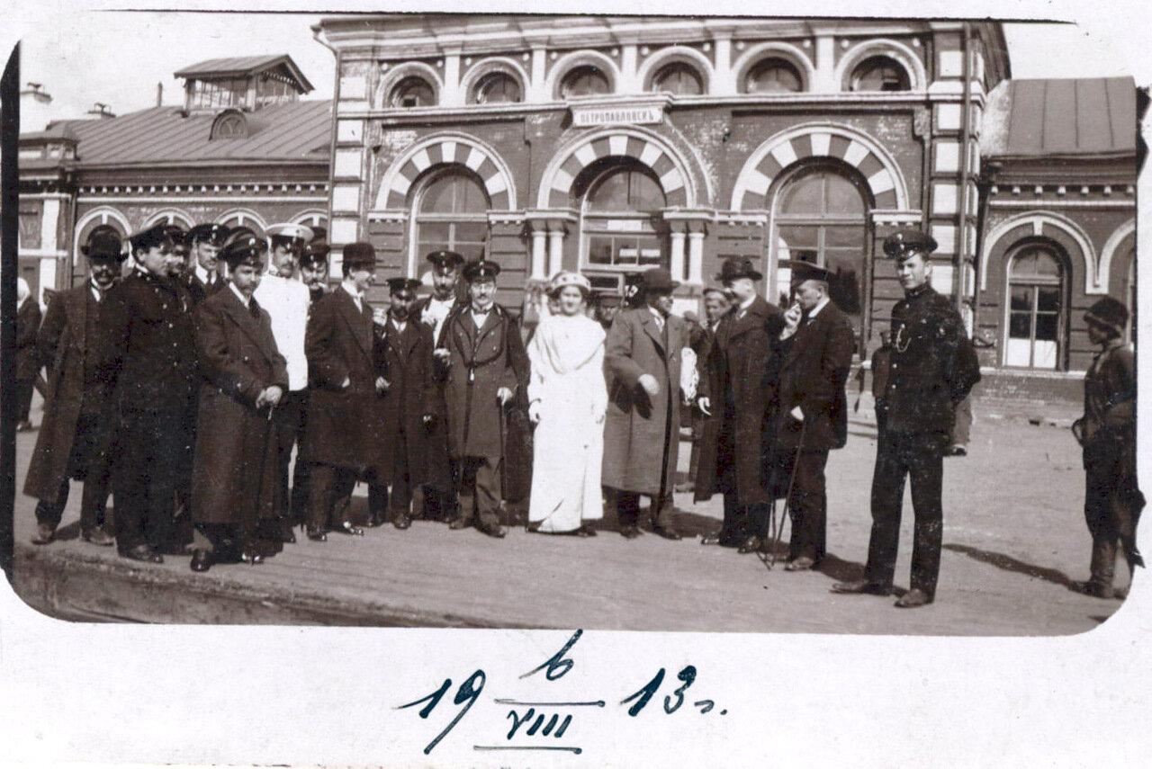 На вокзале. Проводы директора Государственного банка Кашлакова сотрудниками банка
