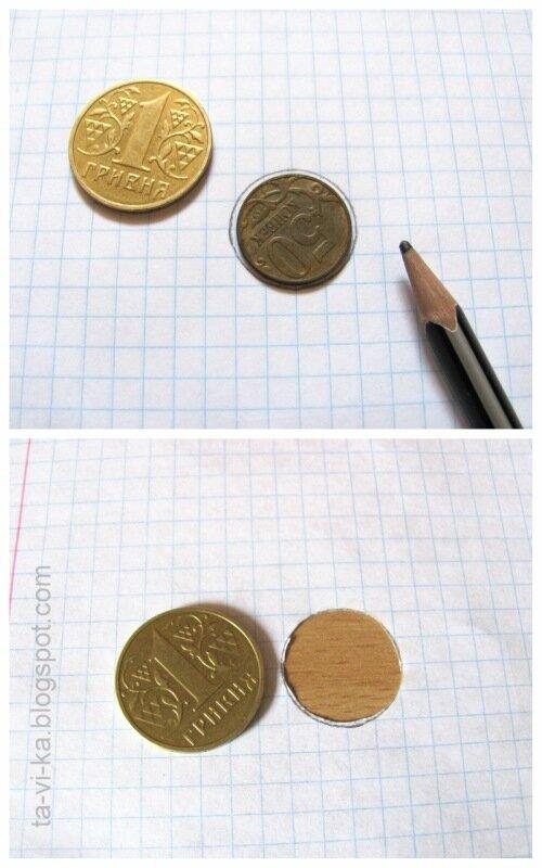 монета, проходящая сквозь отверстие