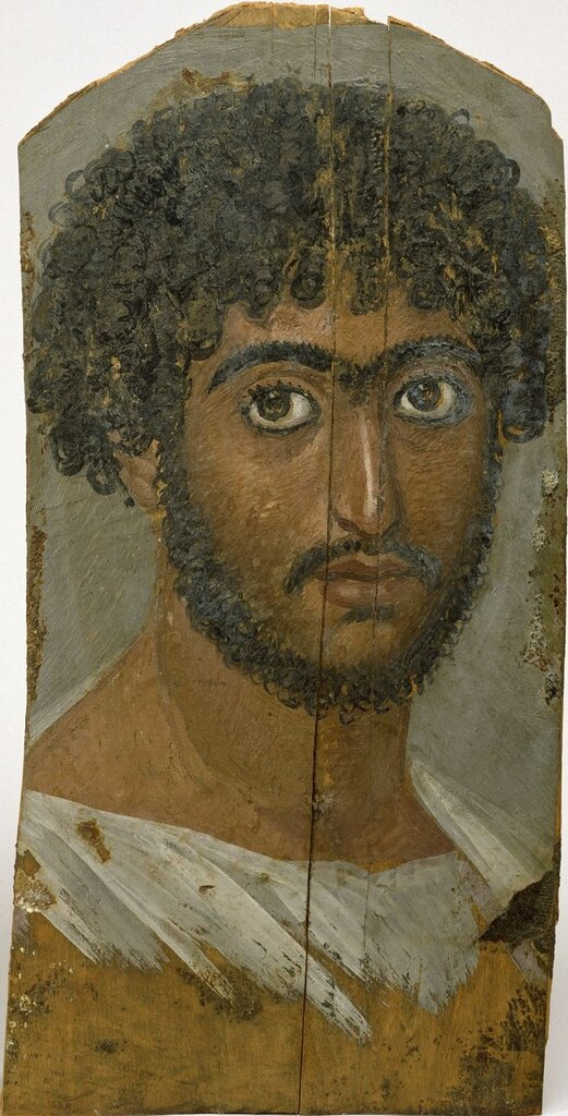 Anonymous (Egyptian). 'Mummy Portrait of a Bearded Man,' ca. 160-170. encaustic on wood. Walters Art Museum (32.6): Acquired by Henry Walters, 1912.