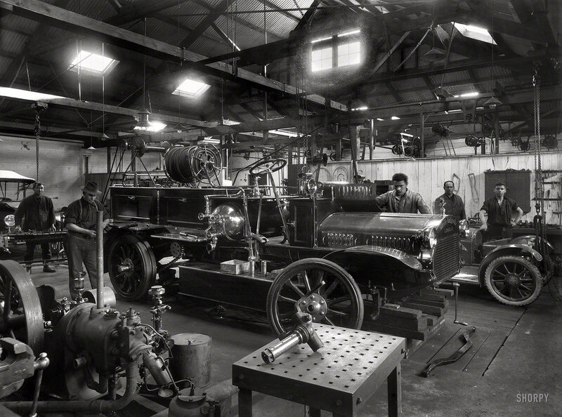 New Zealand circa 1921. Wanganui Fire Brigade's Merryweather fire engine on blocks, probably in Chavannes Garage