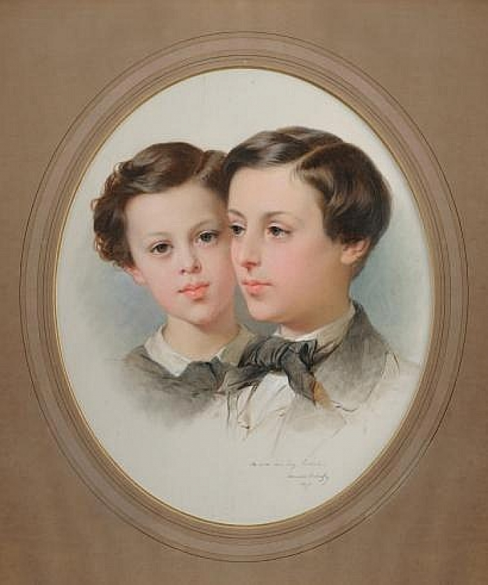 Jean Frédéric André Poulbert, Baron de Neuflize, et son frère M.Poubert Huile sur Toile<br /> Signé, daté 1859 et dédicacé «A son ami Eug. Lecointe»