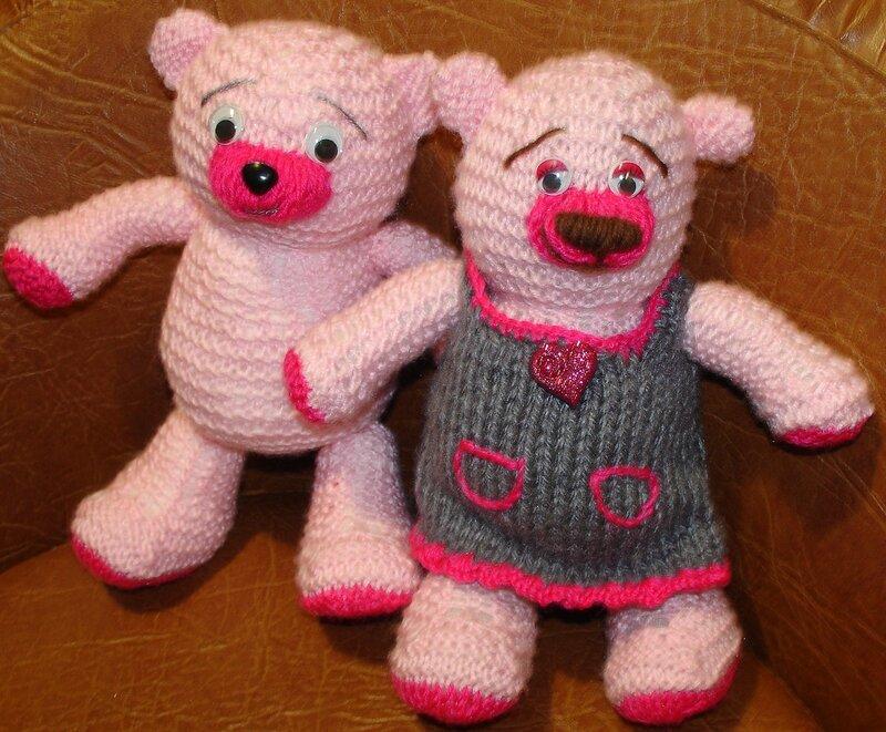 мягкие вязанные куклы и мишки