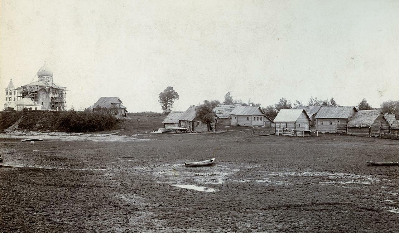 Село Спасское и церковь Спаса на Нередице в процессе реставрационных работ 1903-1904 гг.