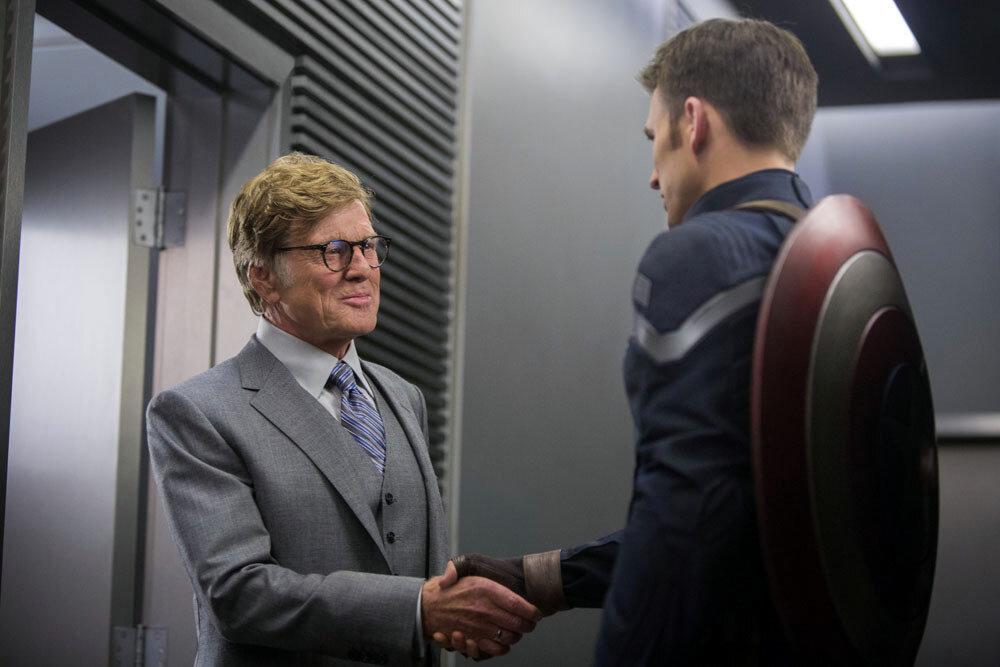 """Marvel's Captain America: The Winter Soldier""..L to R: Alexander Pierce (Robert Redford) & Captain America/Steve Rogers (Chris Evans)..Ph: Zade Rosenthal..© 2014 Marvel.  All Rights Reserved."