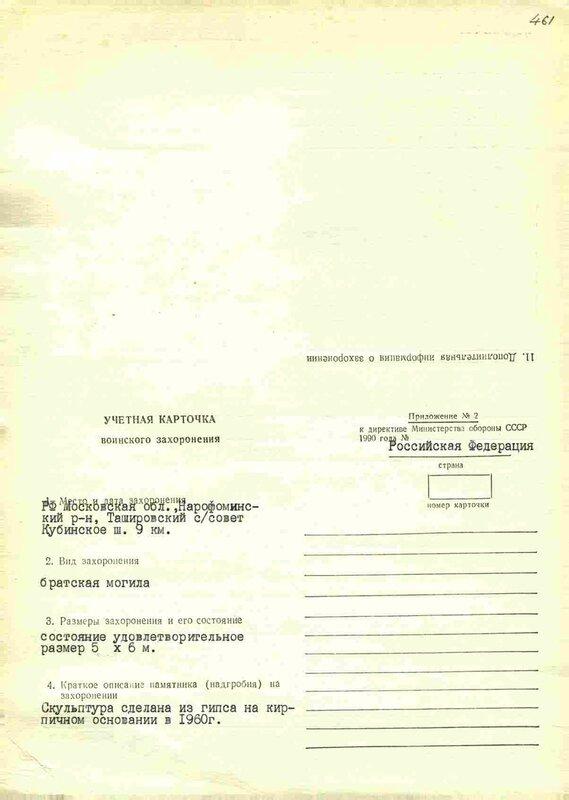Карточка захоронения, Наро-Фоминск