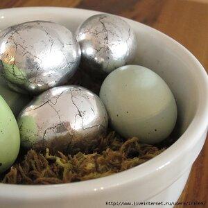 Имитация античного серебра на пасхальных яйцах