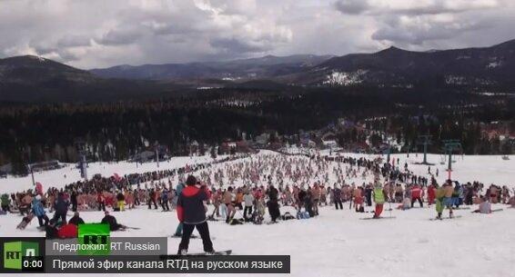 Шерегеш - бикини-спуск на сноубордах