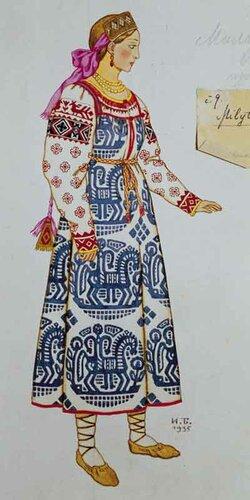 И.Я.Билибин. Mилитриса. Эскиз костюма для опeры H.А.Римского-Корсакова «Сказка о царe Салтанe
