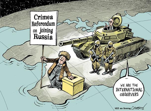 Crimea Referendum — Neue Zürcher Zeitung am Sonntag © Patrick Chappatte