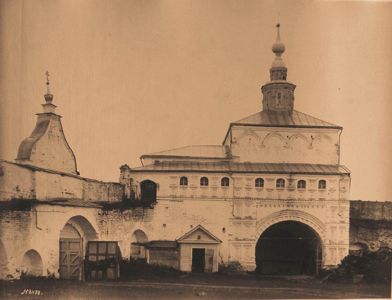 Вид части ворот под Никольской церковью в бывшем Успенском Горицком монастыре
