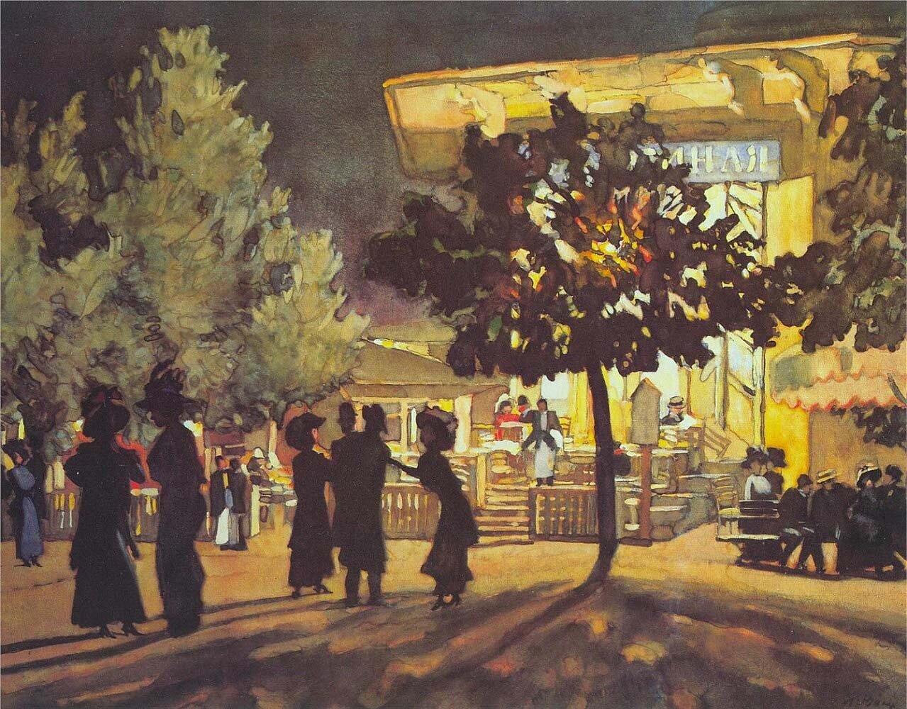 Ночь. Тверской бульвар. 1909. Юон Константин Фёдорович (1875-1958)