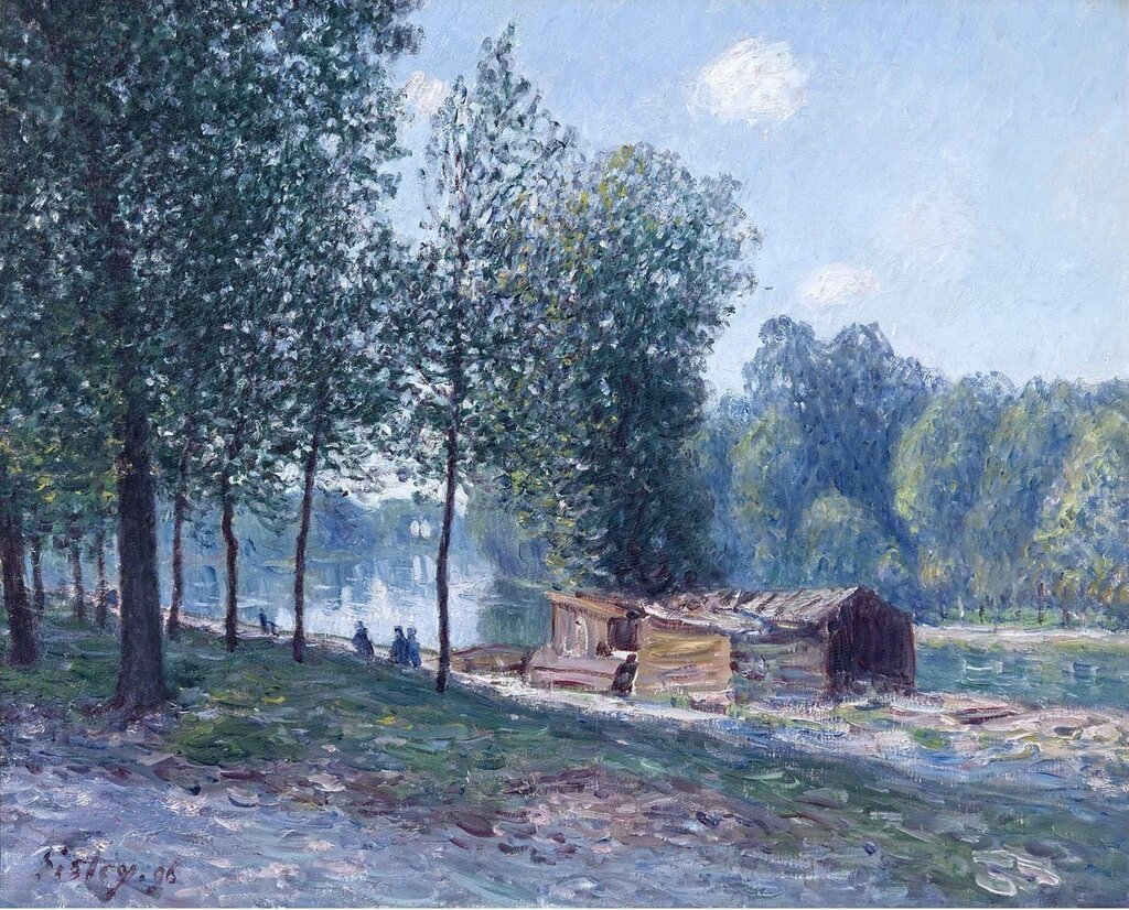 Cabins at the Bank of Loing, Morning Effect, 1896.jpeg