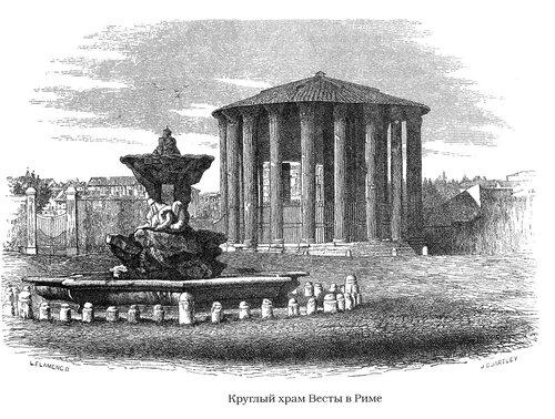 Бычий форум в Риме, общиц вид с храмом Весты