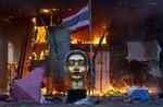 Статуя Будды и национальный флаг Таиланда перед зданием сгоревшего во время беспорядков торгового центра, 19 мая, Бангкок, Таиланд. Фото Adrees Latif  A statue and a torn Thai national flag remain in front of Bangkok's Central World shopping mall, as it