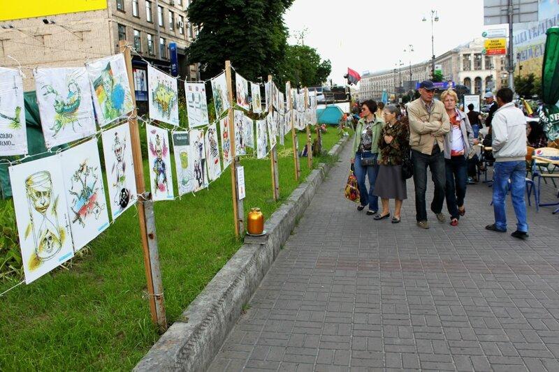 Выставка карикатур на Крещатике