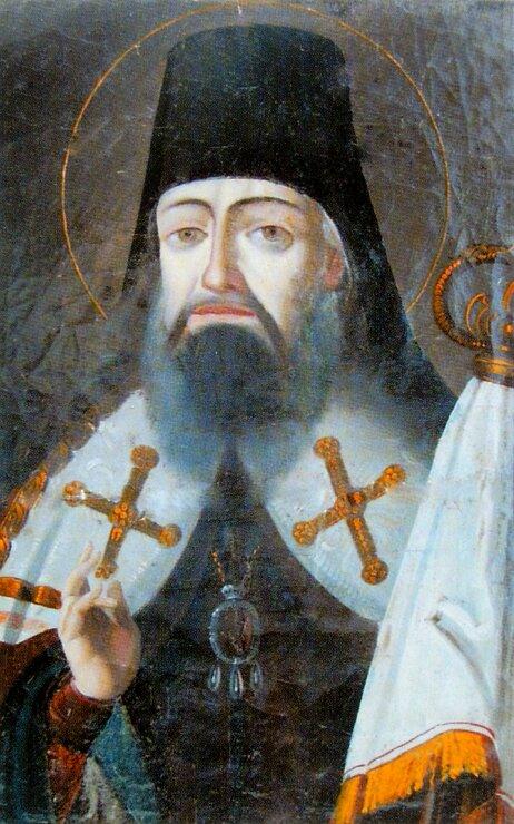 Портрет-икона святителя Тихона на благословение мирного христианского жития Пармену Егоровичу Назарову, 1850 г.
