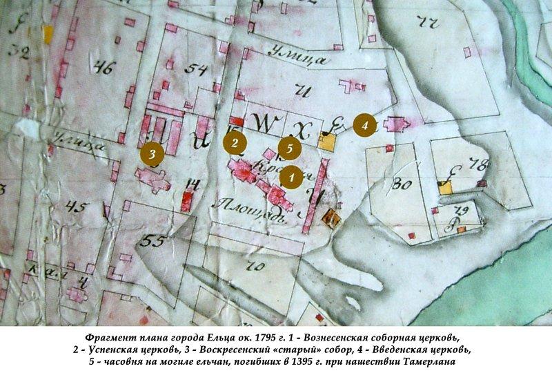Фрагмент плана города Ельца ок. 1795 г.