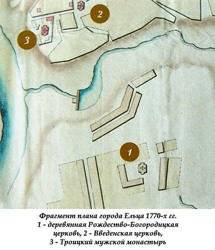 Фрагмент плана города Ельца 1770-х гг.