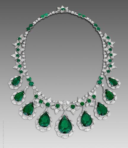 David Morris - Emerald and diamond necklace